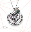 0.925 Silver Engraved Family Tree Heart Necklace