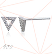 Silver Triangle Stud Earrings With Cubic Zirconia