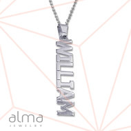 Silver Name Necklace - Vertical