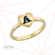 18K Gold Plated Heart Initial Stacking Ring