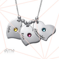 Children Heart Name Necklace with Birthstones