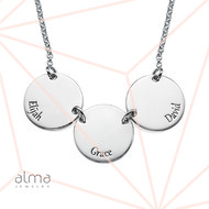 Mother Necklace with Kids Names - Disc Shaped in Sterling Silver