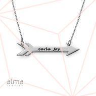 Personalized Silver Arrow Necklace