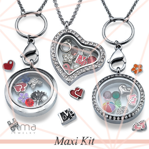 Alma jewelry maxi floating lockets kit 50 lockets 500 charms maxi floating lockets kit 50 lockets 500 charms free display free jewelry aloadofball Image collections