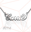 Silver Name Necklace -  Carrie - Double Thickness - Rollo Chain