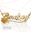 14k Gold Name Necklace - Side Heart