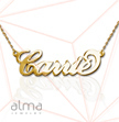 14k Gold Name Necklace - Carrie - Twist Chain
