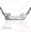 Silver Name Necklace -  Carrie - Double Thickness