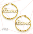 18k Gold Plated 0.925 Silver Hoop Name Earrings