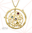 Birthstone Family Tree Necklace with Gold Plating