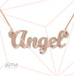 Rose Gold Plated Silver Script Name Necklace