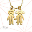 Kids Holding Hands Charms Necklace - Gold Plated