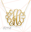 2 Inch Gold Plated Monogram Necklace