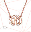 Small Celebrity Monogram Necklace with Rose Gold Plating