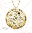 Family Tree Birthstone Necklace - 18k Gold Plated