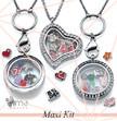 Maxi Floating Lockets Kit: 50 lockets + 500 charms + FREE Display + FREE Jewelry Stand