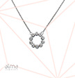 Circle With Cubic Zirconia Silver Necklace