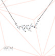 Cubic Zirconia Silver Leaf Necklace