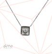Silver Square Single Cubic Zirconia Necklace