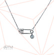 Cubic Zirconia Safety Pin Necklace With A Dangling White CZ