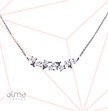 Linked Flowers Silver Necklace With Cubic Zirconia