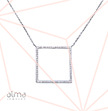 Cubic Zirconia Square Shaped Necklace In Silver