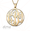 14K Solid Yellow Gold Monogram Necklace