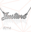 0.925 Silver Name Necklace - Box Chain - Double Thickness