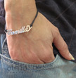 Silver Name Bracelet - Leather Cord