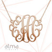 2 Inch Monogram Necklace in 18K Rose Gold Plated Silver