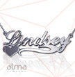 14k White Gold Name Necklace - Side Heart