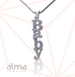 14k White Gold Name Necklace - Vertical