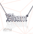14k White Gold Name necklace - Old English