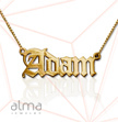 18k Gold-Plated Silver Name Necklace - Old English