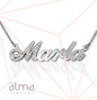 Diamond 14k White Gold Name Necklace - Capitalized Letter