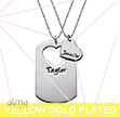 Gold Plated Couples Dog Tag Necklace With Cut Out Heart