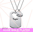 Rose Gold Plated Couples Dog Tag Necklace With Cut Out Heart