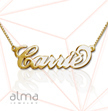 10K Solid Gold Name Necklace - Double Thickness - Carrie - Box Chain
