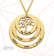 Gold Plated Family Circle Necklace with Hanging Family Tree