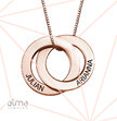 Russian Ring Necklace with 2 Rings - Rose Gold Plated