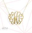 1 Inch 18K Gold Plated over Silver Monogram Necklace