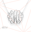1.5 Inch Monogram Necklace in Silver 0.925