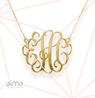 "18K Gold Plated 1.5"" Monogram Necklace"