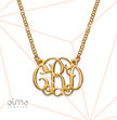 Small Celebrity Monogram Necklace with Gold Plating