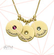 Mother's Disc and Birthstone Necklace in 18k Gold Plated