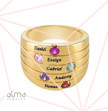 Five Stone Mothers Ring with Gold Plating