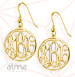 18K Yellow Gold Plated Sterling Silver Circle Monogram Earrings