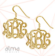 18K Yellow Gold Plated Sterling Silver Monogram Earrings