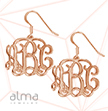 18K Rose Gold Plated Sterling Silver Monogram Earrings
