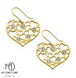 My Only One - 18K Gold Plated Sterling Silver Mother Heart Earrings with Birthstones